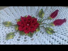 Flores Vermelhas em Crochê Para Serem Aplicadas no Caminho de Mesa em Crochê - Cristina Coelho Alves - YouTube