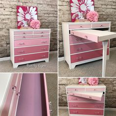 Pink Ombre Dresser which converted to a study desk was painted in custom blends of Annie Sloan chalk paints and sealed with a poly top coat for durability. Glass knobs and handles were the perfect jewelry for this piece. Diy Furniture Dresser, Bedroom Dressers, Furniture Makeover, Diy Bedroom, Bedroom Ideas, Bedroom Furniture, Furniture Ideas, Desk Dresser Combo, Diy Gifts For Kids