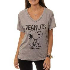 7ecd3abca7 Women s Snoopy and Woodstock V-Neck Graphic Burnout T-Shirt