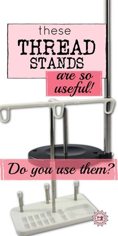 Looking for a sewing thread stand for your beginner sewing projects and machine embroidery? Check out this tutorial on how to use a thread stand for cone threads, why you need a thread holder, thread holder ideas, how to make a thread stand DIY, and look for DIY cone thread stand ideas. Sewing For Beginners Diy, Sewing For Dummies, Sewing Basics, Easy Sewing Patterns, Crochet Stitches Patterns, Sewing Tutorials, Stitch Patterns, Sewing Machine Thread, Machine Embroidery