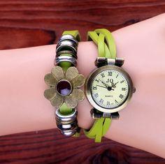 Retro Trend Cute Flower Design Student's Watch Girl's Bracelet Watch.