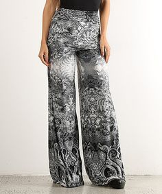 Love this Black Arabesque Palazzo Pants on #zulily! #zulilyfinds
