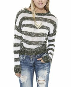 junior+pullover+sweaters | Stripe Pullover Sweater | Shop Junior Clothing at Wet Seal on Wanelo