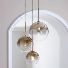 Sculptural Glass Round Globe Chandelier, S-M-L Globe, Gold Ombre Shade, Brass Canopy 3 Light Chandelier, Globe Chandelier, Modern Chandelier, Pendant Lighting, Pendant Lamps, Kitchen Lighting, Home Lighting, Modern Lighting, Lighting Design