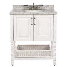 Home Decorators Collection Karlie 30 in. Vanity in White with Marble Vanity Top in White-8108500410 - The Home Depot