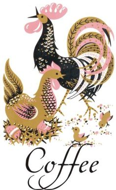 stylized chickens. always popular midcentury motif.