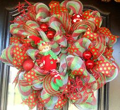 10% Off With DISCOUNT CODE Christmas Holiday Whimsical Deco Mesh Wreath. $70.00, via Etsy.