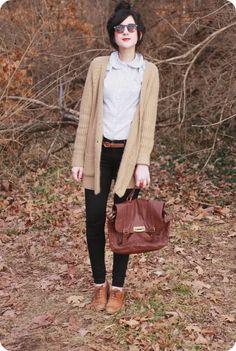 Black pants, cognac shoes and belt, white collar shirt, beige knit sweater