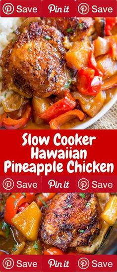 "Slow Cooker Hawaiian Pineapple Chicken 6 hrs to make serves 4 Ingredients Gluten free Meat 4 Foster farms simply raised chicken thighs Produce 1 cut into chunks 2 cups pineapple 2 Garlic cloves 1 tbsp Ginger 1 Parsley 1 Red bell pepper cut into 1"" chunks 1 Yellow onion cut into 1"" chunks Condiments 3 tbsp Honey 2 tbsp Soy sauce Baking & Spices cup Brown sugar dark 1 tbsp Cornstarch 2 tsp Sesame seeds"