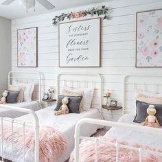 Sweet garden theme, blush pink, pale coral, soft greens, golds and greys for three little ladies. Source by ellisonmade Sister Bedroom, Little Girl Rooms, Little Girls Room Decorating Ideas Toddler, Kids Bedroom Ideas For Girls Toddler, Kids Girls, Baby Girls, Bedroom Decor, Garden Bedroom, Floral Bedroom