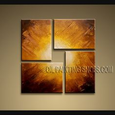 Astonishing Modern Textured Painted Wall Art Oil Painting On Canvas Panels Gallery Stretched Abstract. This 4 panels canvas wall art is hand painted by D.Lee, instock - $145. To see more, visit OilPaintingShops.com