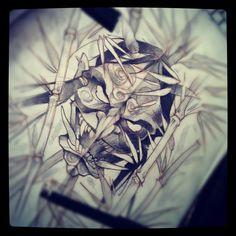 #tattoo #sketch #demon #japan #bamboo