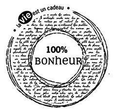 Scrapbooking - Florilèges Design - Tampon bois - 100 % bonheur - 5,3 x 5,3 cm