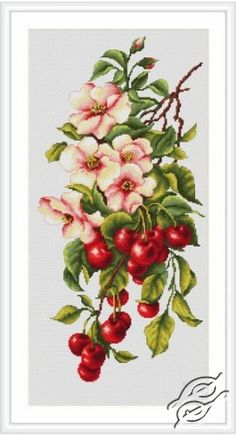 Composition with Cherry - Cross Stitch Kits by Luca-S - B205