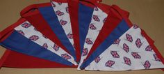 Red, White & Blue UNION JACK BUNTING - British Flag Double Sided Handmade