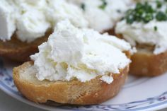 Holly Grove goat cheese on French baguette.