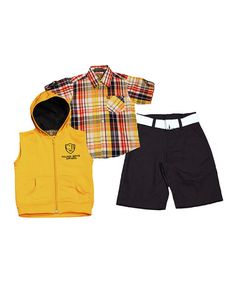 Look at this #zulilyfind! Yellow & Blue Plaid Button-Up Set - Boys by College Boyys #zulilyfinds