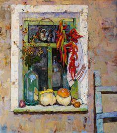 On the window victoria kalaichi Russian Impressionism Painting Still Life, Still Life Art, Different Art Styles, Ukrainian Art, Traditional Art, Painting Inspiration, Flower Art, Watercolor Paintings, Artwork