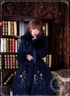 NEWS II: Fairy Forest Embroidery Lolita Coat is NOW AVAILABLE at >>> http://www.my-lolita-dress.com/vintage-navy-blue-embroidery-cashmere-lolita-winter-jacket-ftf-3