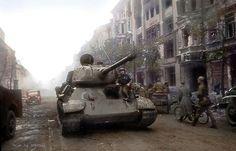 https://flic.kr/p/Fq3KyN | T-34-85 on the streets of Berlin, 1945
