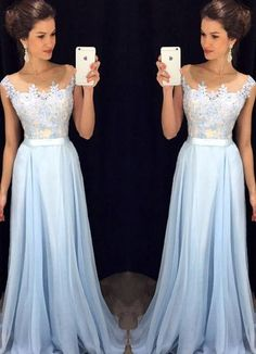 592644e5db8b Prom Dresses, Fashion Light Blue Appliques A line Prom Dress, Formal Dress, Evening