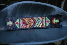 Another view of this native American theme Beaded Peyote Cuff