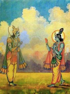 Arjuna et Krisna, Bhagavad Gita (via Pinterest Thirumalai Cumbum), yoga, mythologie