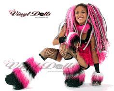 Fluffy Leg Warmers - *Glitter* White / Hot Pink/ Black