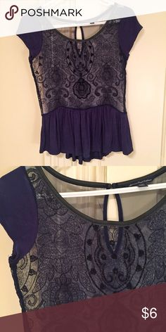 EUC Sheer Top Adorable top!! Sheer torso with stitching and beading, black trim collar, navy fabric on sleeves and peplum bottom, in great condition! American Eagle Outfitters Tops