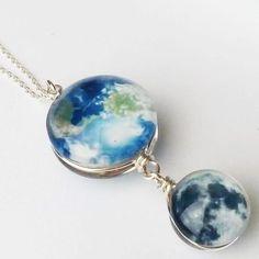Mini Moon & Earth Necklace - Svaha Apparel