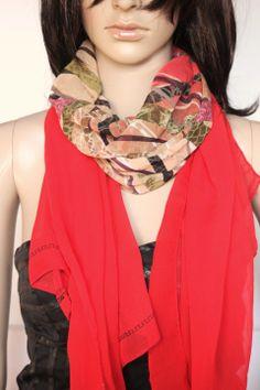 Foulard en mousseline rouge imprimée de volutes   Echarpe, foulard, cravate  par emmafashionstyle 41669053c84