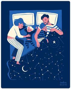 Family sleeping by carolina buzio attachment parenting illustration, illust Art And Illustration, People Illustration, Illustrations And Posters, Portrait Illustration, Art Watercolor, Freelance Illustrator, Illustrators, Graphic Art, Graphic Design