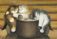 Happy Life N.1 - Kitten / Cat Art, Print from Original Oil Cat Painting, Fun Cats, Cute Cats, Bar Accessory Decor via Etsy