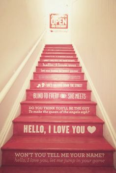 Song Lyrics on stairs...