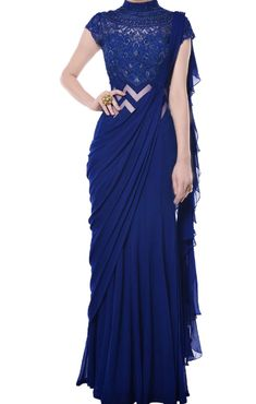 Shop blue embroidered draped saree , freeshipping all over the world , Item code Trendy Sarees, Stylish Sarees, Fancy Sarees, Stylish Dresses, Saree Designs Party Wear, Party Wear Sarees, Saree Gown, Sari, Kids Party Wear Dresses