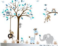 Árbol de buhos de la etiquetas selva por Littlebirdwalldecals