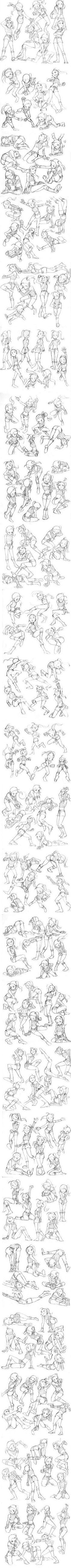 Dynamic cartoon poses for a female character. Super cool!: