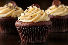 Salted Caramel Frosted Chocolate Cupcakes