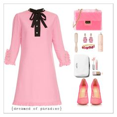 """""""15 Dicembre"""" by simona-altobelli ❤ liked on Polyvore featuring Gucci, Christian Louboutin, Design Inverso, Philip Kingsley, Drybar, Liz Claiborne, Pink, MyStyle and pinklicious"""