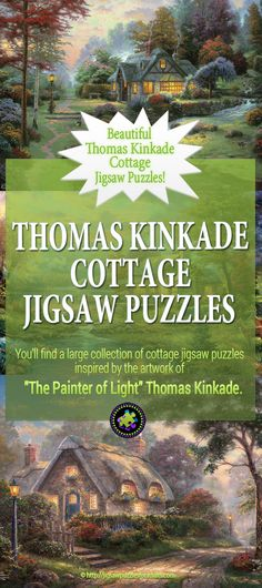 """Are you a Fan of Thomas Kinkade? You'll LOVE the large selection of Thomas Kinkade Cottage Puzzles. These jigsaw puzzles for adults are inspired by the artwork of """"The Painter of Light"""" Thomas Kinkade. Difficult Jigsaw Puzzles, Thomas Kinkade Art, Kinkade Paintings, Maze Game, Hobbies For Couples, Model Hobbies, Famous Artists, Christmas Projects, Wind Mills"""