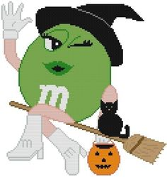 Cross Stitch Knit Crochet Plastic Canvas Waste Canvas Rug Hooking BeadWork Pattern . Green Chocolate Candy Witch on a broom with a pumpkin and cat. www.pinterest.com...