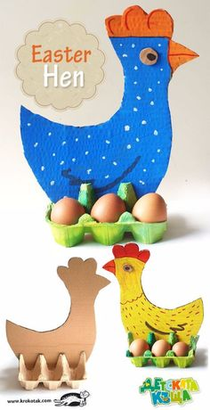 Easter Hen - Egg Carton and Cardboard fun easter DIY with kids Upcycled Crafts, Dyi Crafts, Upcycled Clothing, Easter Crafts For Kids, Diy For Kids, Easter Activities, Activities For Kids, Holiday Activities, Egg Carton Crafts