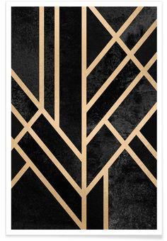 Art Deco Black - Elisabeth Fredriksson - Premium Poster