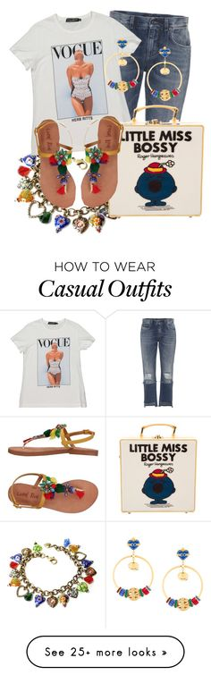"""Playful Summer Casual"" by funnfiber on Polyvore featuring Dolce&Gabbana, Sweet Romance, Coral Blue and Olympia Le-Tan Casual Wear, Casual Outfits, Fasion, Fashion Outfits, Olympia Le Tan, Coral Blue, Little Miss, Street Styles, Romance"