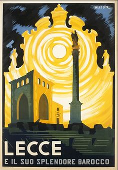 Lecce Italy 1947 Vintage Poster Print Italian Travel Tourism Art Free US Post Low EU Post by VintagePosterPrints on Etsy Vintage Italian Posters, Poster Vintage, Vintage Travel Posters, Italy Tourism, Italy Travel, Travel Tourism, Italy Art, Railway Posters, Train Posters