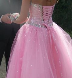 If I ever go to a ball... The Modern Princess ♕ :: Pink Sequin Corset Tie Back Dress