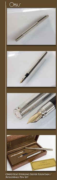 OMAS Ego Sterling Silver Fountain / Rollerball Pen (metal body, sterling silver parts, solid 14kt gold nib) - 1970s / Italy