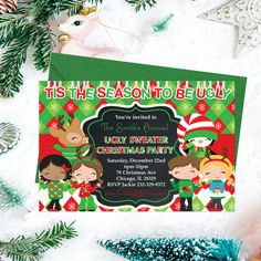 Ugly Sweater Christmas Party Invitations by PrintYourInvite Tacky Sweater, Ugly Sweater Party, Ugly Christmas Sweater, Christmas Party Invitations, Printable Invitations, Xmas Cards, Holiday Parties, Happy Holidays, Christmas Time