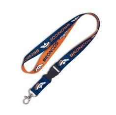 Denver Broncos Two Tone Lanyard by WinCraft. $4.55. Show your team pride everywhere you go. This versitile lanyard is perfect for the office, school, gym, or game days. Features repeat print team name and logo, detachable buckle, and a sturdy metal clip to hold a keyring, ID badges and more.