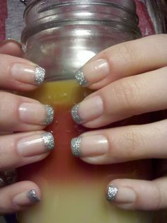 silver glitter French tip! <3